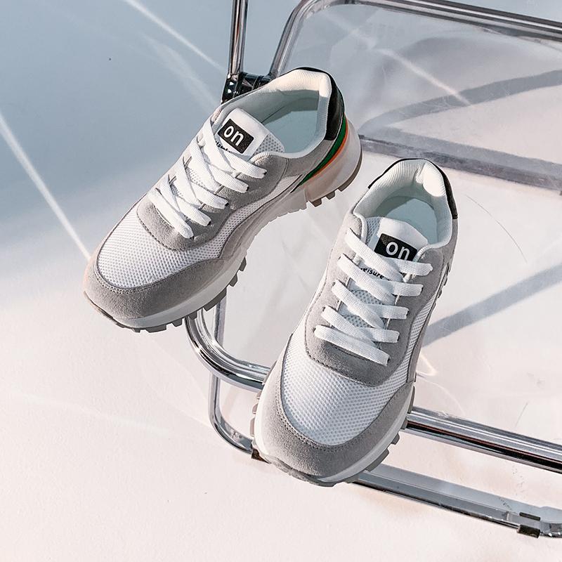 女鞋网布阿甘鞋学生平底鞋夏季时尚百搭2021新款休闲拼接女生潮鞋