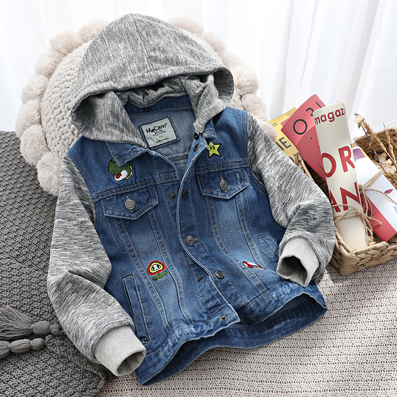 Childrens coat boys spring and autumn new denim fake two casual jacket Korean detachable Hoodie