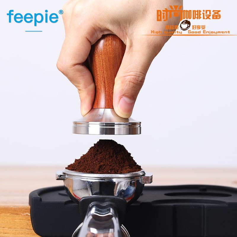 咖啡压粉器58mm不锈钢压粉锤实木把手螺纹粉锤意式咖啡机。