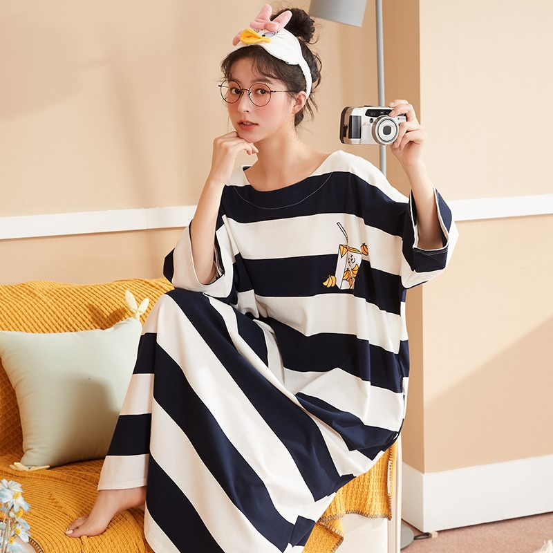 Pajamas long nightdress simple long thin women 2021 spring style ankle trend one-piece new super summer cold