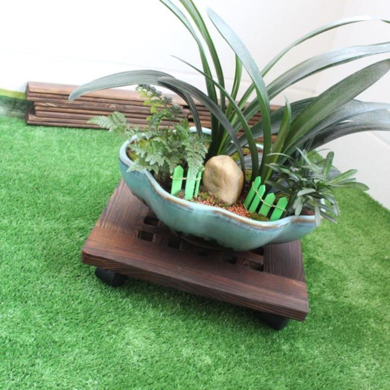 Put anti-corrosion flower pot, vessel rack, decorative plate bottom, potted plants, carbonization, fixed and reinforced wooden roof base, potted landscape tray