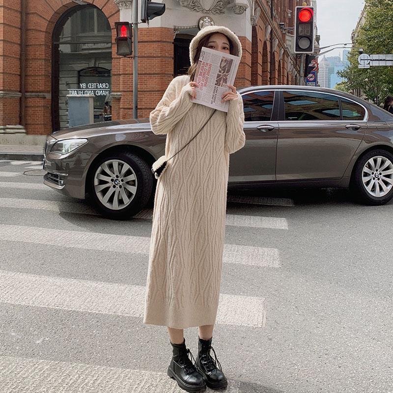 中國代購 中國批發-ibuy99 大衣女 配的搭打底针织内法式大衣2020年新款香风小连衣裙子女秋冬季毛衣