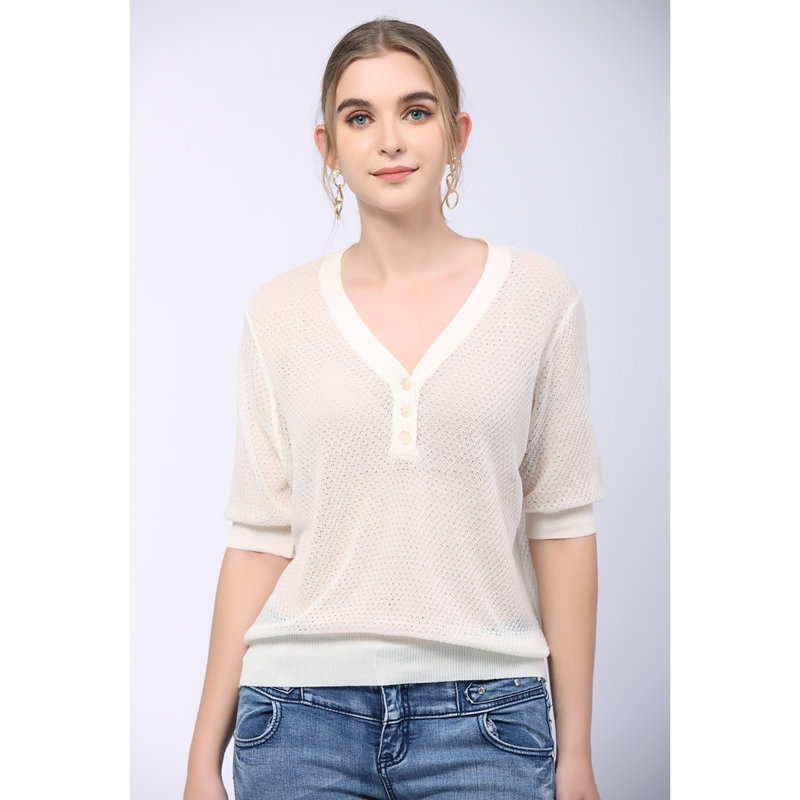 Summer 2021 new V-neck T-shirt womens short sleeve Tencel flax knitted breathable button top thin