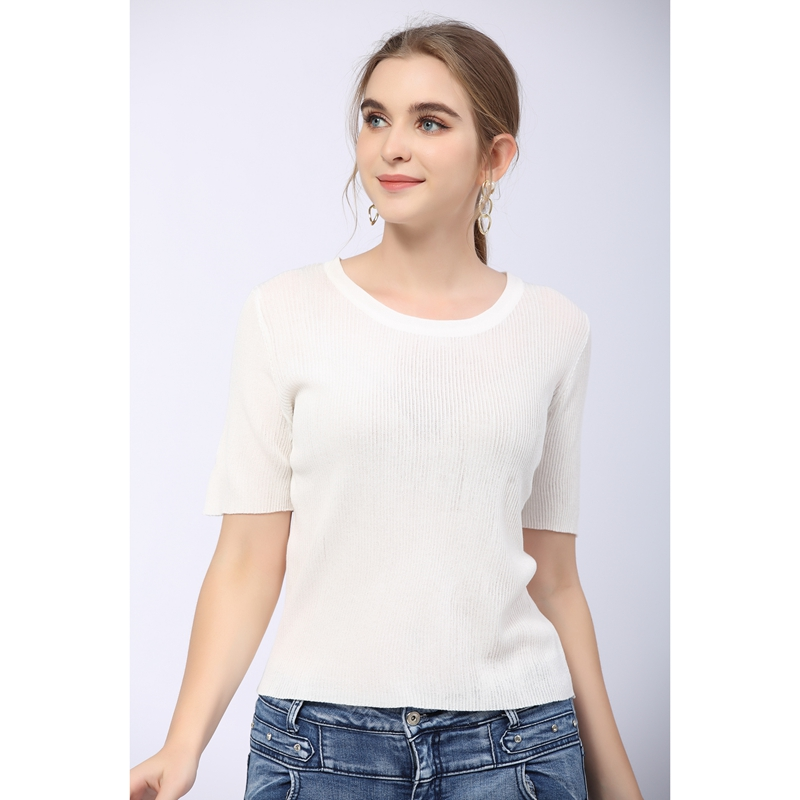 Summer 2021 new round neck T-shirt womens short sleeve solid ice slim fit versatile breathable sweater top thin