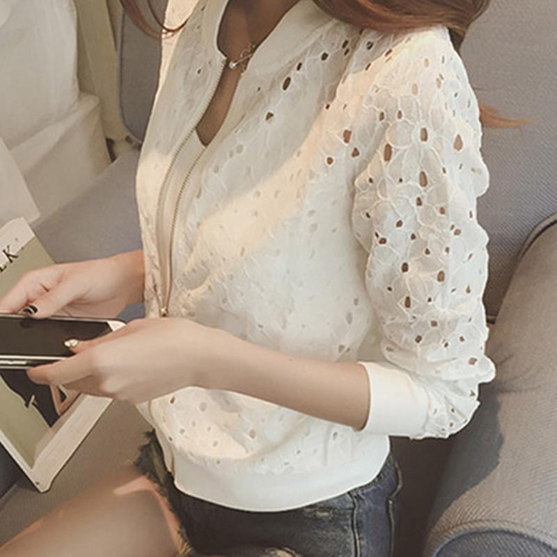 中國代購 中國批發-ibuy99 棒球 新款薄款开衫蕾丝小外套镂空拉链短款外套女夏装防晒衫棒球服学生