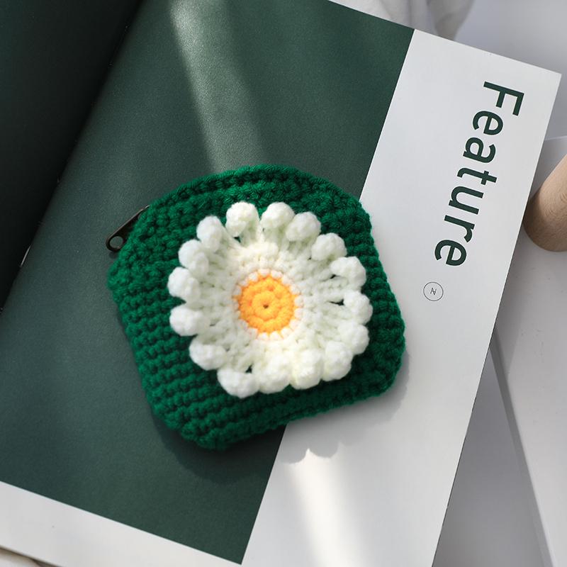 Daisy sunflower hand knitted zero wallet womens lovely Korean wool coin bag zipper card bag