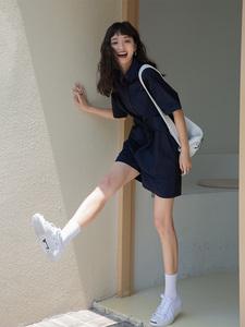 网红工装衬衫连体裤女夏高腰显瘦韩版短袖小个子宽松休闲短裤套装