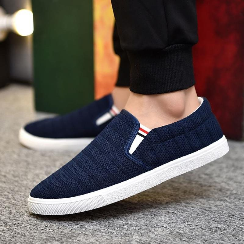 Leisure Zifan Korean students 2019 Youth Edition shoelaces cloth shoes mens lazy Han Yijiao white low top