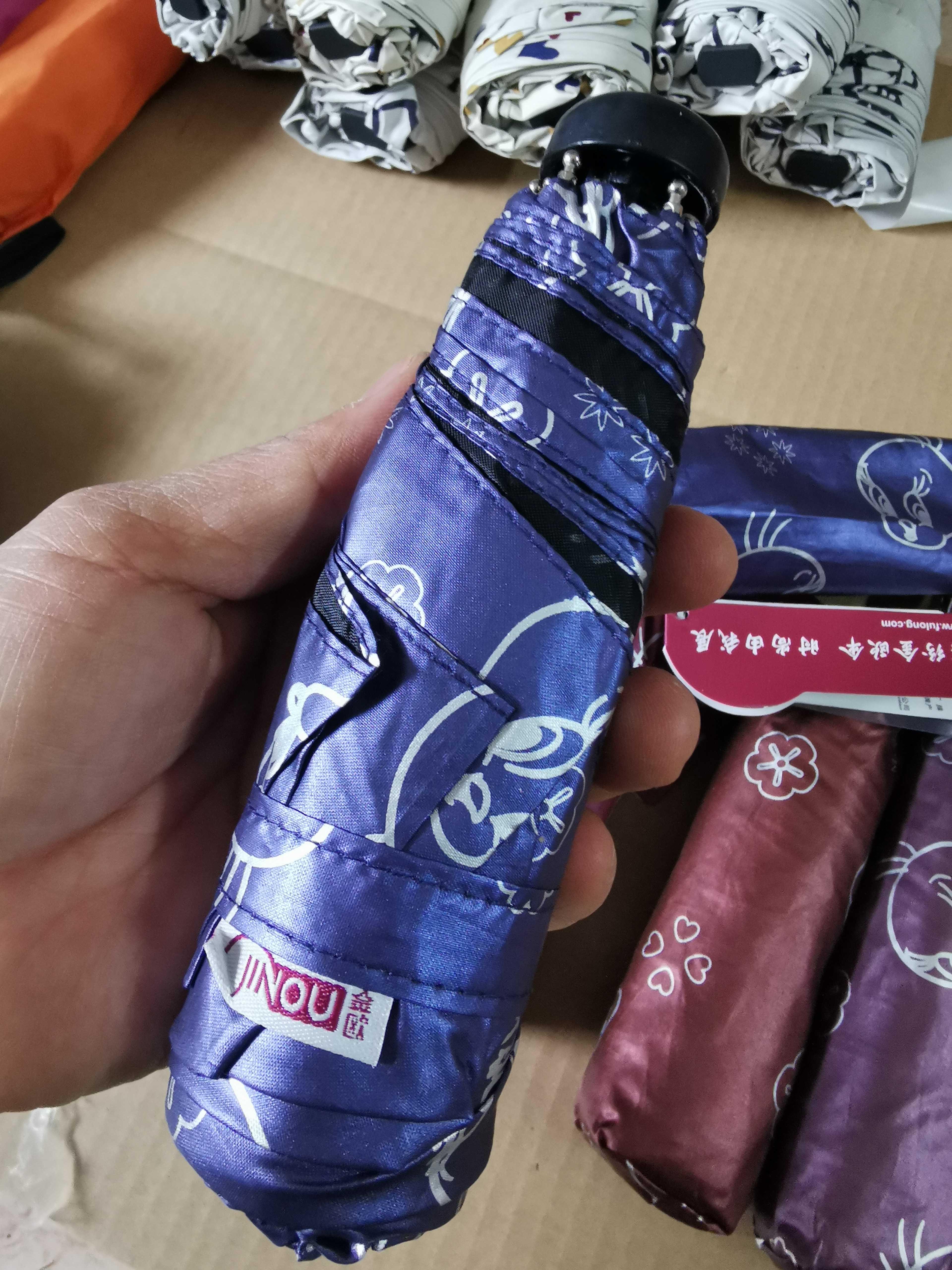 包邮金欧超细五折卡通小鸟翠儿太阳伞晴雨伞可爱卡通伞全不锈钢。