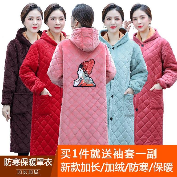 。 Dirt proof smock adult fashion women autumn and winter long smock hooded autumn and winter coat suede button I.