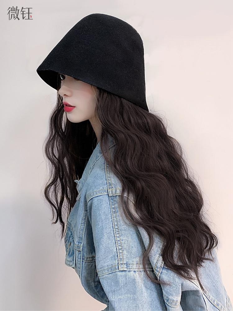 假发帽子一体女时尚长卷发大波浪网红款羊毛呢盆帽子女夏天韩版潮