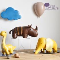 ins创意皮革玩偶犀牛大象样板房服装店咖啡馆儿童房g软装饰品道具
