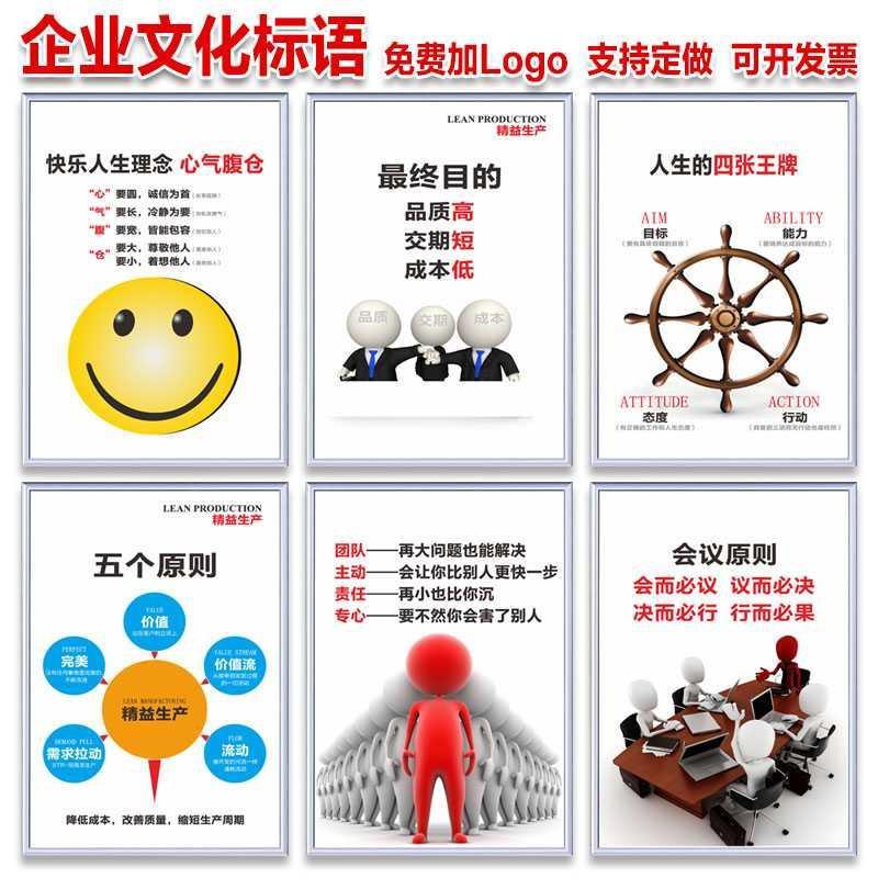 Factory culture slogans, enterprise office decoration wall stickers, workshop lean production slogans, meeting principle display board.