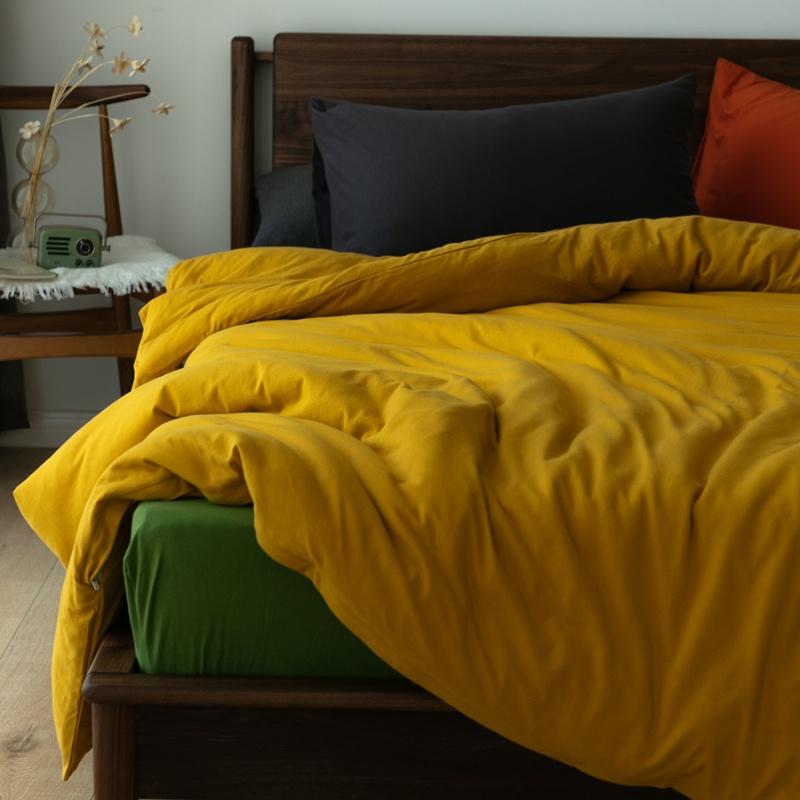 裸睡の物新疆天竺棉四件套 油墨彩纯棉针织被套全棉床单极简日式