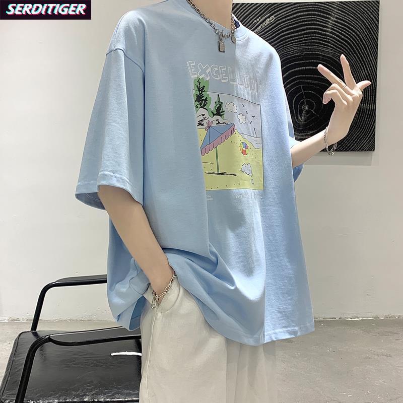 冷淡风文艺复兴五分软奶蓝高级感上衣天蓝色短袖t恤男2021年新款