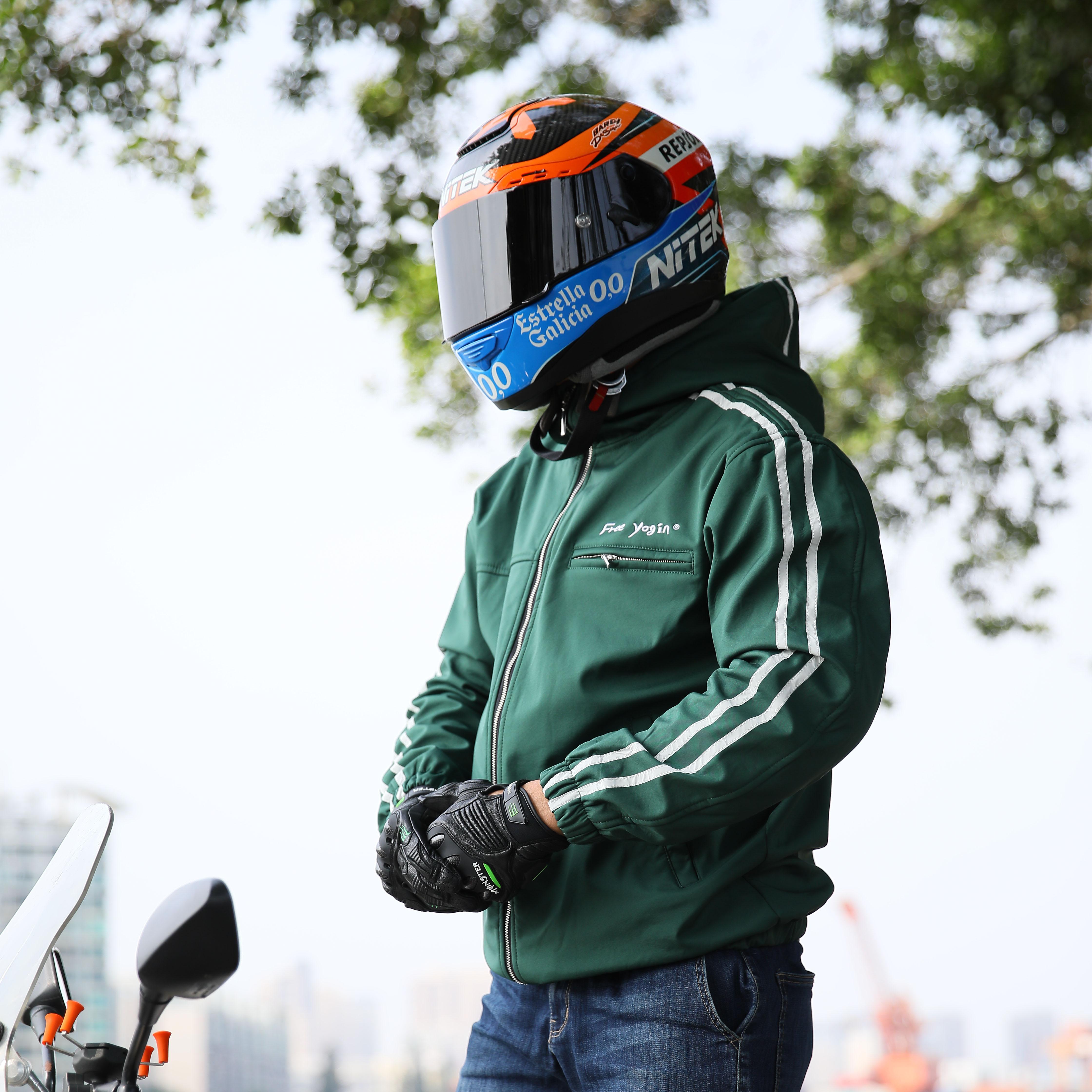 FREEYOGIN摩托车骑行服男休闲卫衣外套防摔防风通勤机车夹克绿色