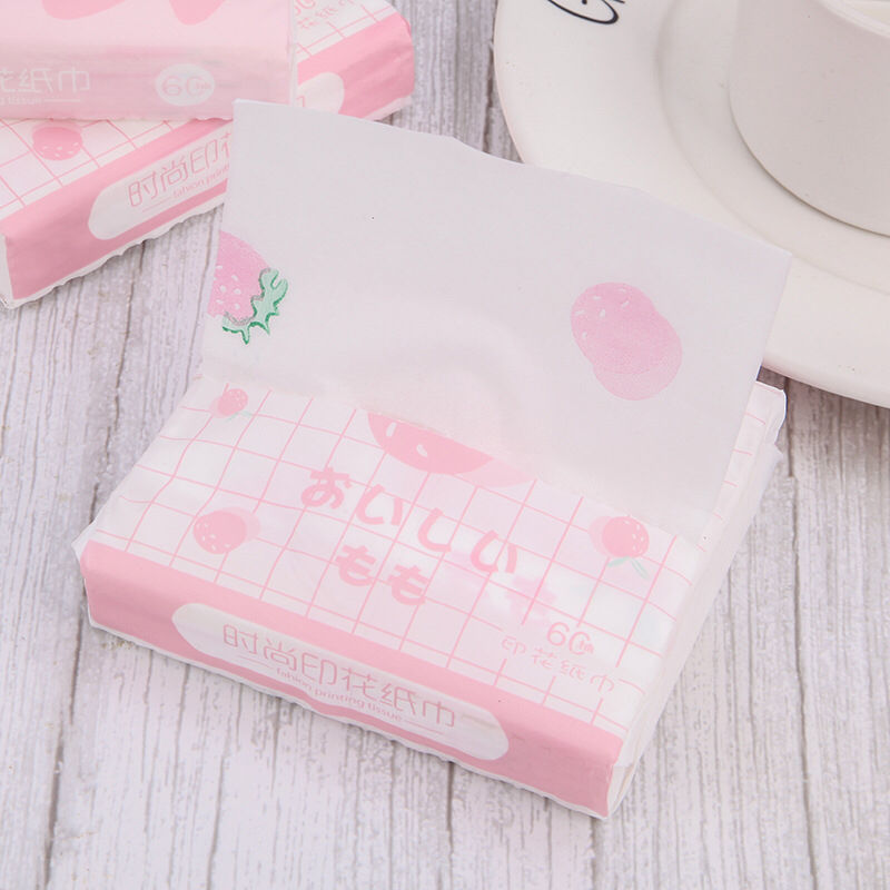 Patterned tissue printed tissue paper, face towel paper, portable bag, colored napkin paper, strawberry printed handkerchief paper