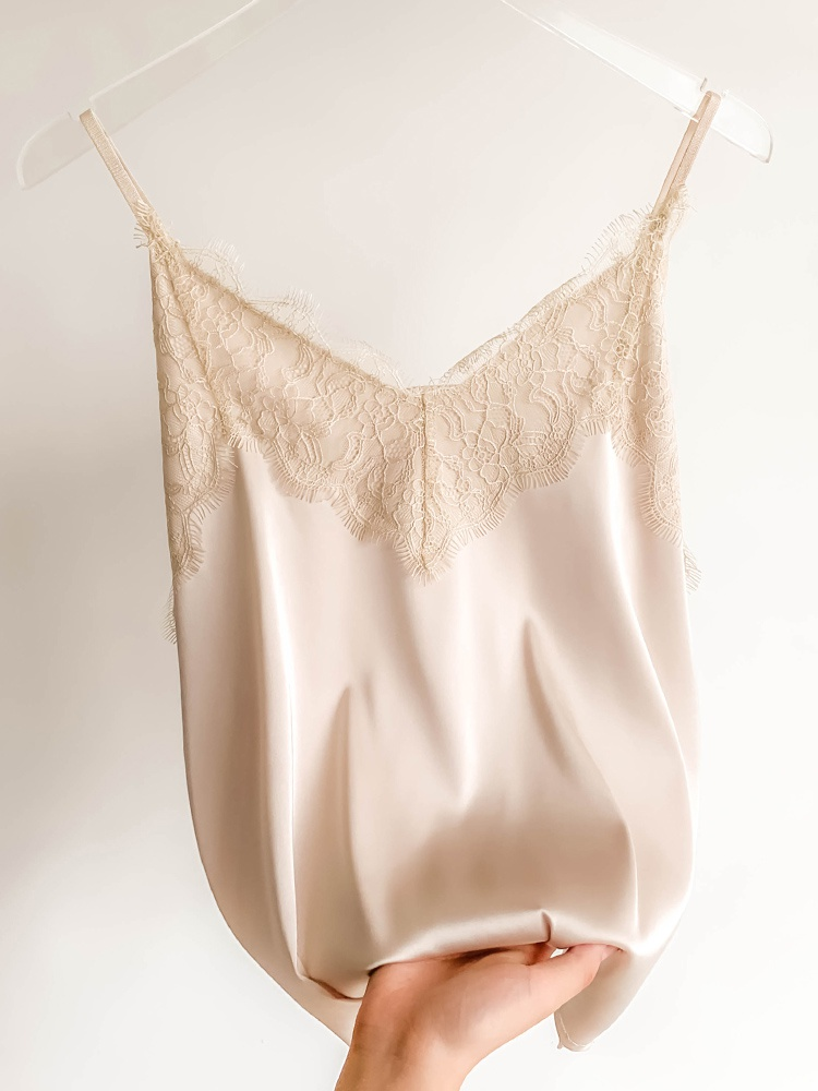 Lace suspender vest womens silk suit with silk back on the inside and acetate Satin sleeveless top on the outside