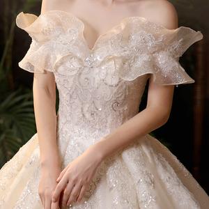 一字肩孕妇主婚纱2021新款新娘气质拖尾大码高腰遮孕肚显