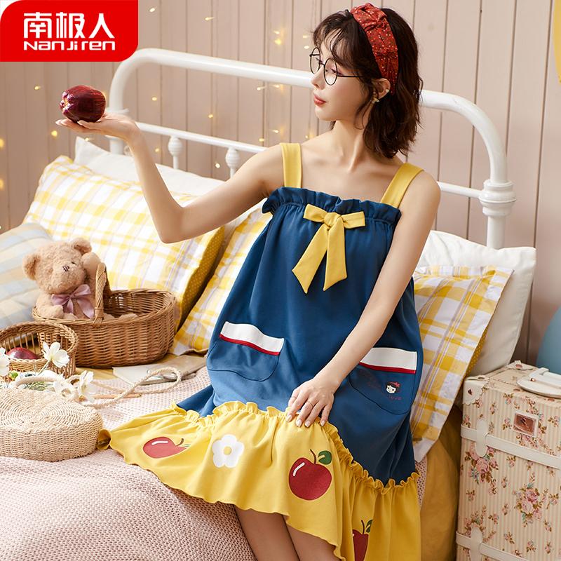 中國代購|中國批發-ibuy99|睡衣女|南极人吊带睡裙女夏季可爱公主背心睡衣纯棉家居服夏天2021年新款
