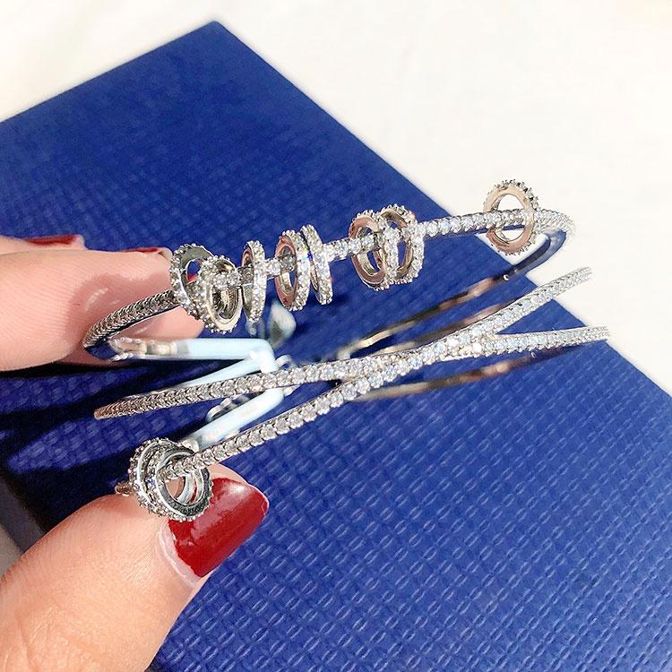 正品欧美s925纯银时来运转手镯女ins潮网红时尚个性多层圆环镶钻