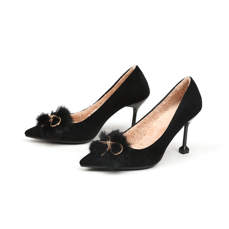Single shoe autumn winter 2020 high heeled shoes with pointed end and 100 Plush heels
