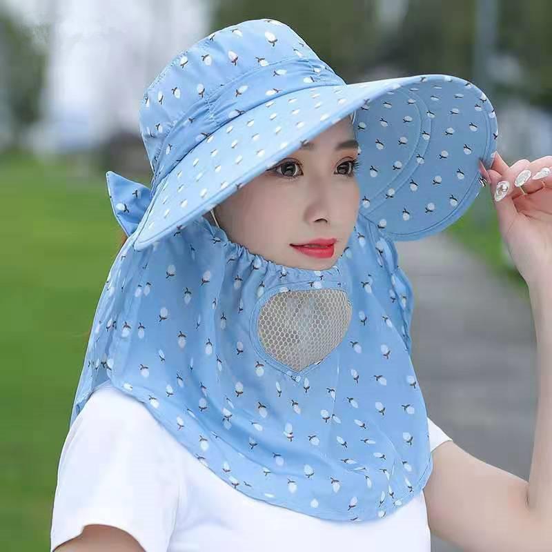 中國代購|中國批發-ibuy99|女士帽子|帽子遮阳全脸女士夏天采茶遮脸防晒帽防紫外线太阳帽