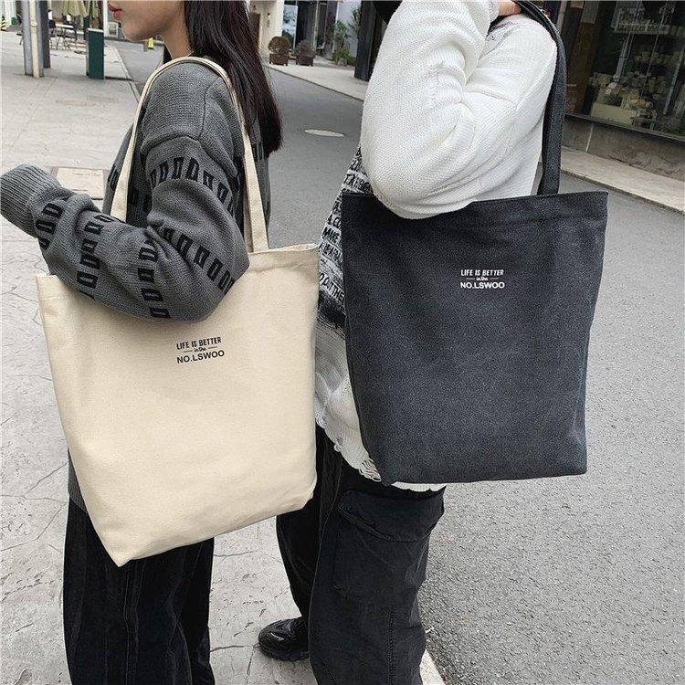 Vintage Wash butot 2020 new mid size lazy wind versatile mens and womens Canvas Shoulder Bag in