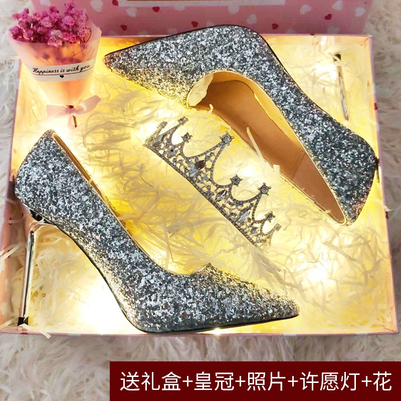 新款学生礼品高跟鞋十八岁生日礼物女细跟成人礼送闺蜜水晶鞋成年