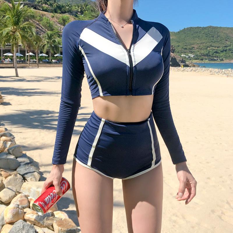 泳衣女士保守分体长袖防晒高腰性感比基尼新款韩国V温泉游泳装批