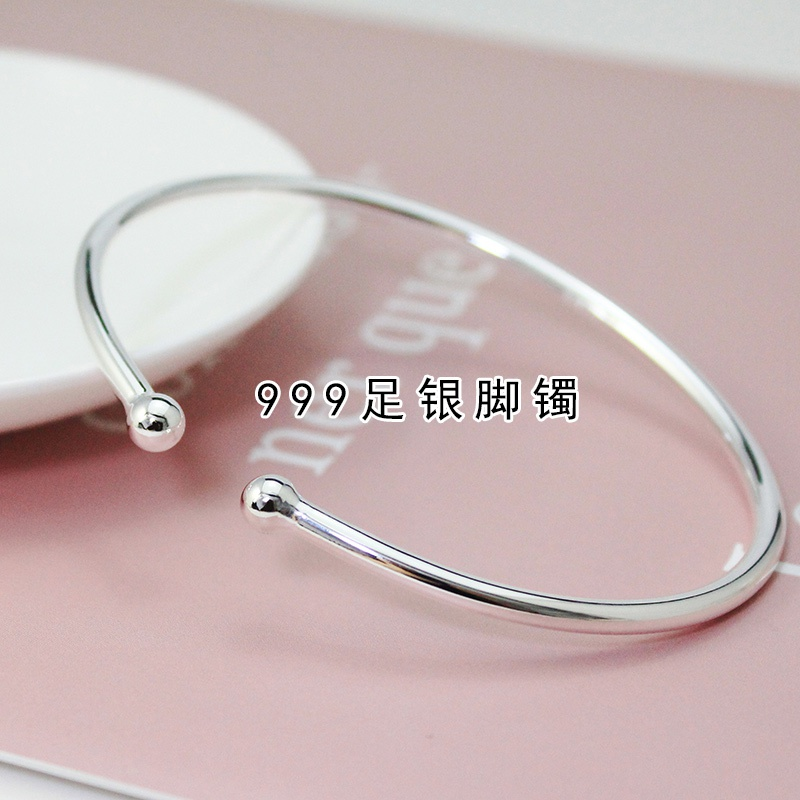 High grade antique slim garlic Silver Bracelet Anklet round head 999 pure silver smooth face womens mouth young full silver bracelet