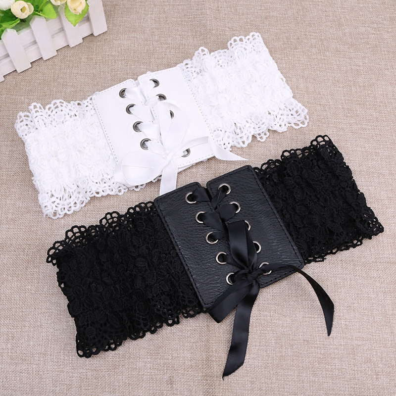 Single trend lace lace strap belt buckle hidden cover dress 100 stretch shirt womens wide waist black and white