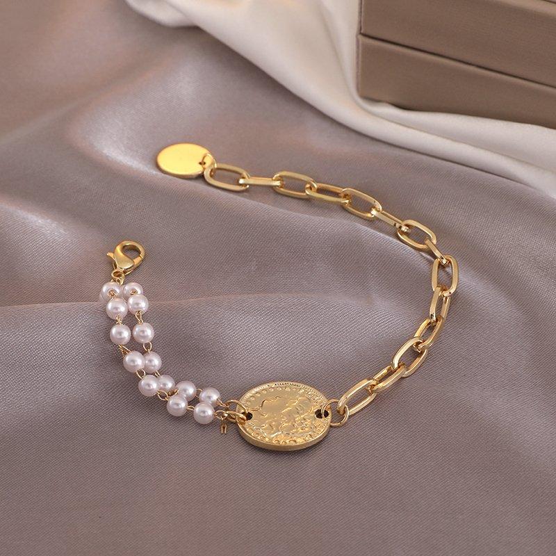 风手链设计简约女创意手链不对称珍珠人小众个性头像手镯手饰ins