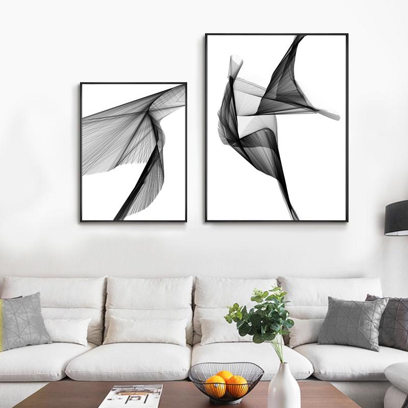 北欧黑白线条艺术装饰客厅装饰画