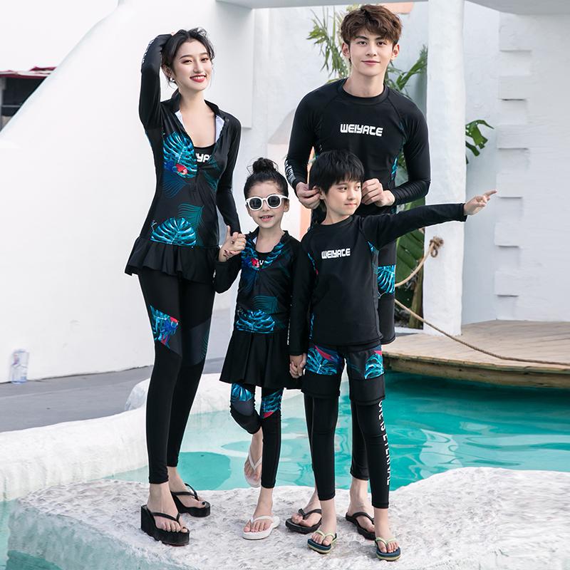 父子长袖男士分体母女速中套装大情侣潜水服童干亲泳衣防晒子男童