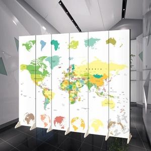 抽象科技世界地图隔断屏风简易移动折叠公司学校教育培训机构背景