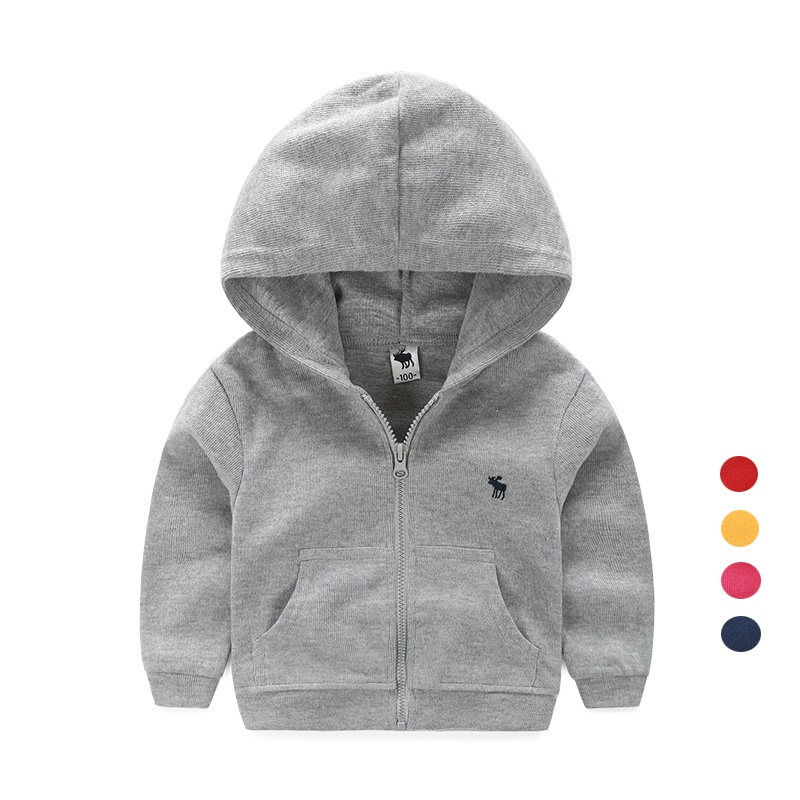 All cotton childrens spring and autumn jacket, boys and girls zipper hooded cardigan single layer top.