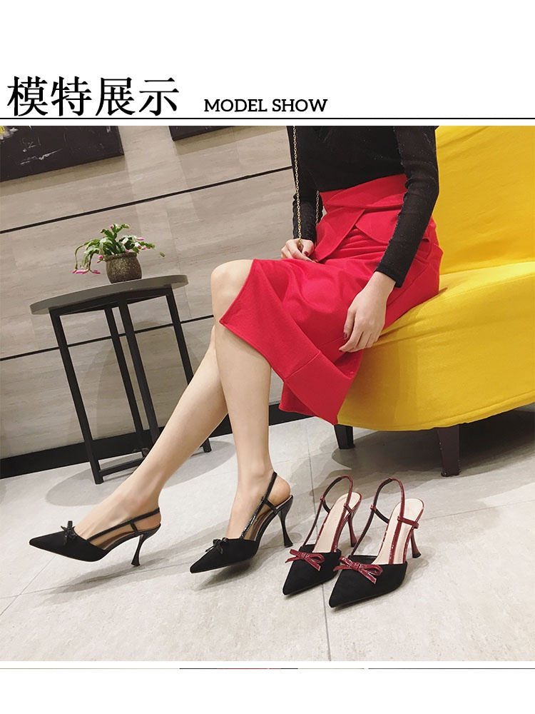 Small heeled sandals womens pointed bow suede back high heels gentle chic 2020 summer new womens shoes