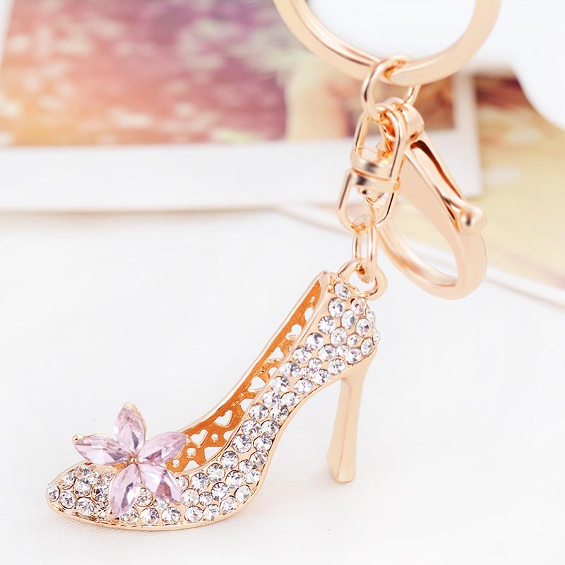 。 Car Keychain female Korea creative lovely Rhinestone Crystal high heels key chain ring bag Pendant