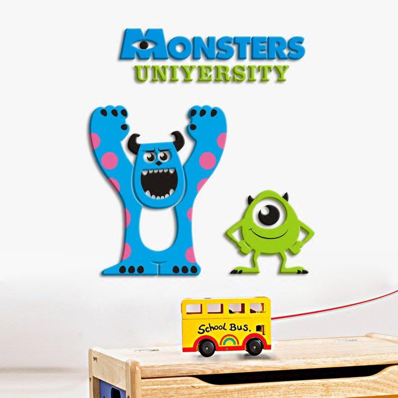 怪兽电力公司3d立体墙贴亚克力墙画大眼怪兽客厅卧室儿童房床头贴