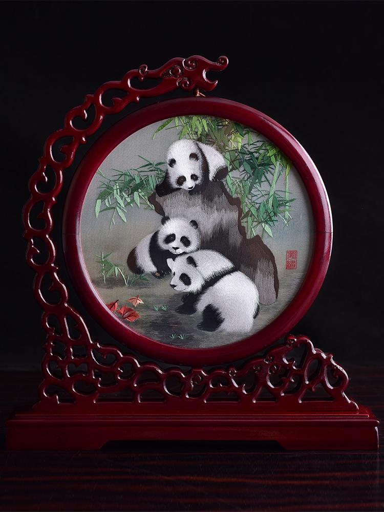 中国风成都蜀绣特色工艺品礼物送老外国人双面手工刺绣屏风摆件