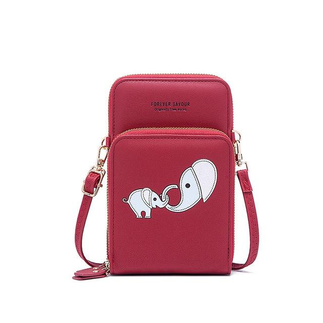 新品2021新款触屏手机袋卡通零钱包卡包双层拉链小皮包手腕女生单