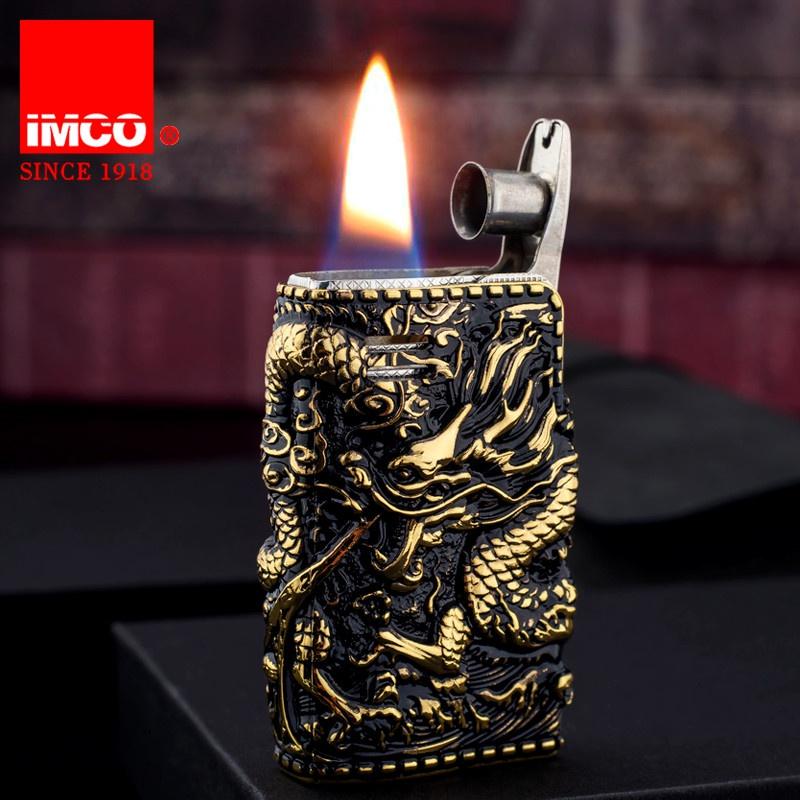 。 New IMCO kerosene lighter Panlong surround relief 6800 armor windproof nostalgic old wheel creativity