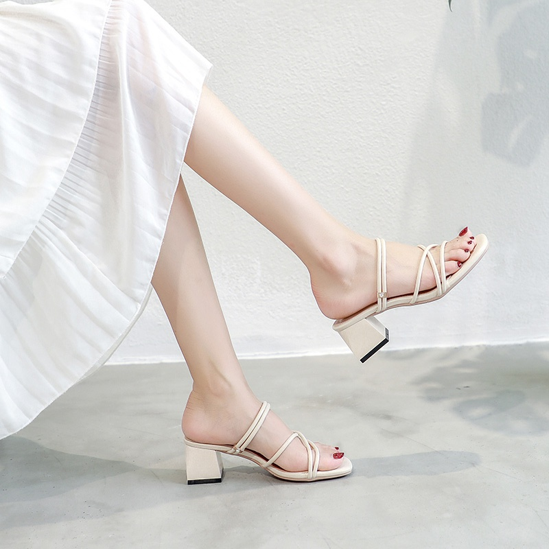 Dual purpose high-heeled sandals with skirt shoes fairy temperament beautiful new 2021 new summer net red pop middle heel