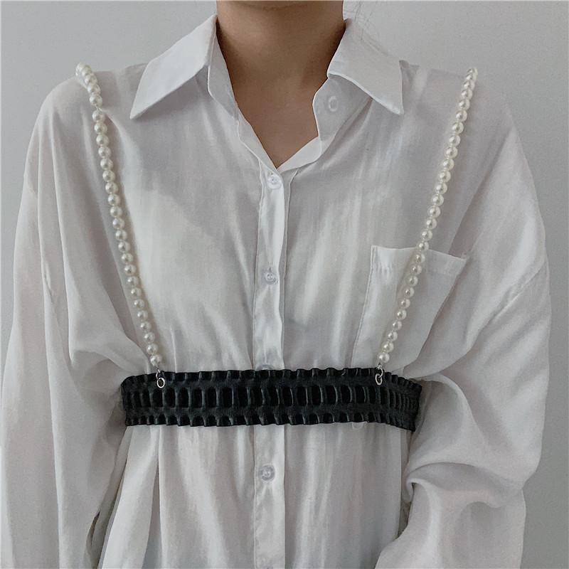 法式背带腰带女珍珠链配饰时尚马搭配连衣裙子百衫衬甲腰封外穿酷