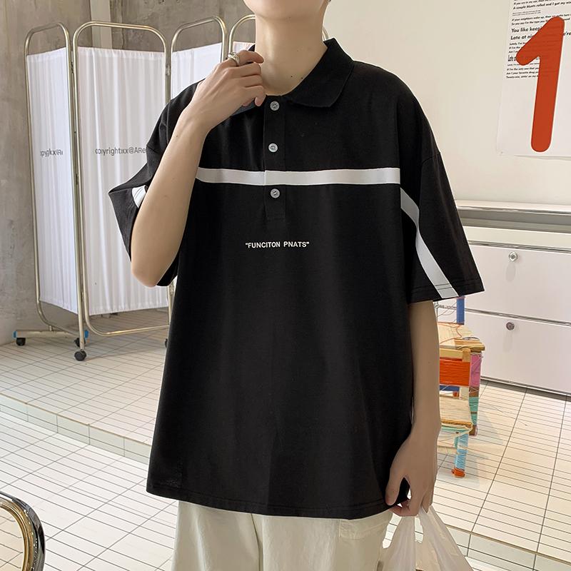 中國代購 中國批發-ibuy99 POLO衫 夏季拼色五分袖Polo衫短袖T恤男潮流情侣百搭半袖套头体恤上衣服