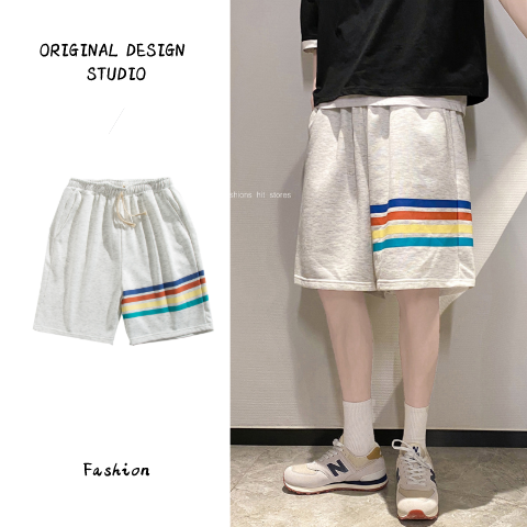Summer color stripe casual sports shorts mens fashion brand loose straight four pole five Leggings student basketball pants