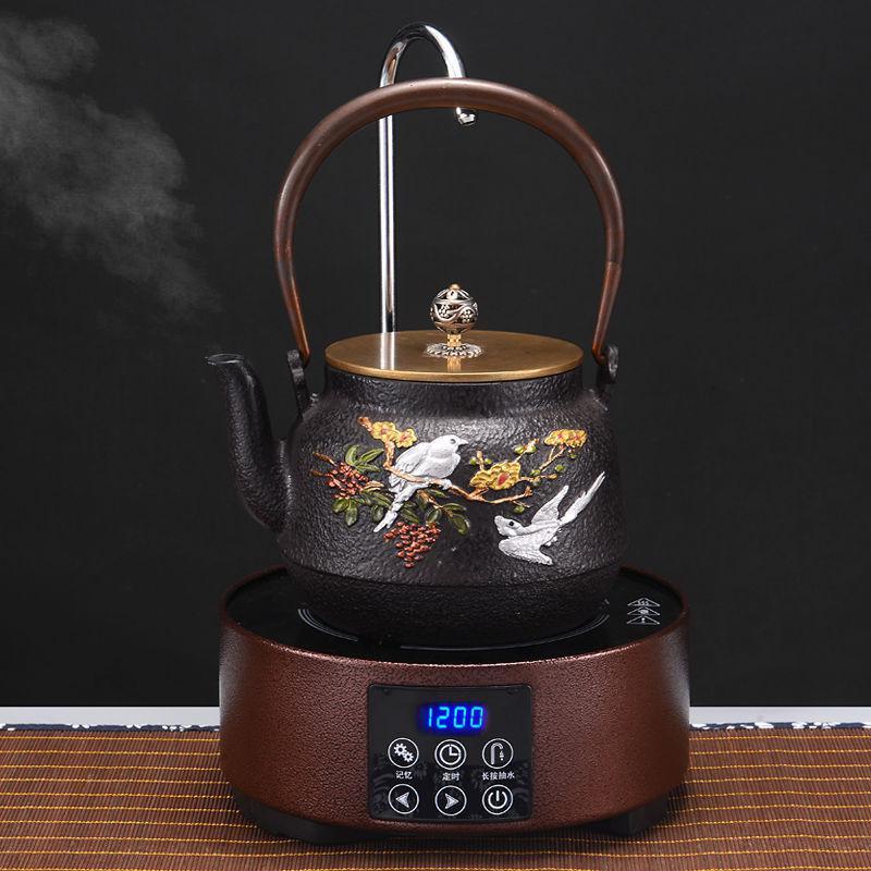 2020新款手工老铁壶铸铁茶壶自动上水电陶炉套装无涂层泡茶烧水。