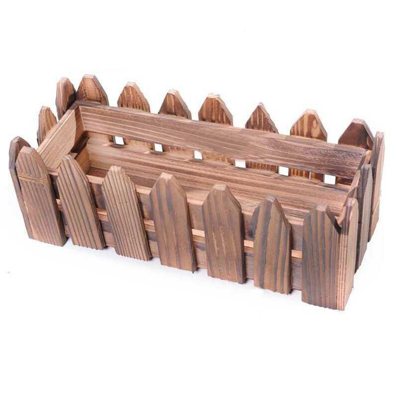 The flower pot with pointed fence has rectangular wall hanging flower trough, carbonized antiseptic wood flower rack, flower box, fleshy flower vessel and vessel.