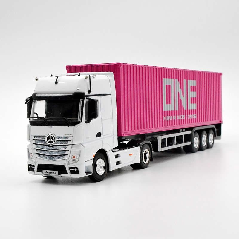 朋达模型1:50奔驰BenzONE涂装平板拖车货柜合金集装箱模型